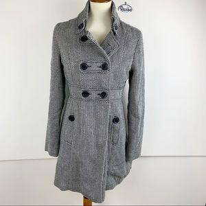 Jack BB Dakota Gray Striped Long Jacket Pea Coat